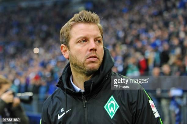 Head coach Florian Kohfeldt of Bremen looks on prior to the Bundesliga match between FC Schalke 04 and SV Werder Bremen at VeltinsArena on February 3...