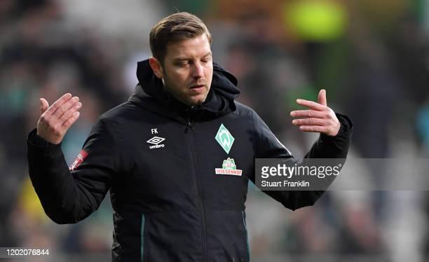 Head coach Florian Kohfeldt of Bremen reacts during the Bundesliga match between SV Werder Bremen and TSG 1899 Hoffenheim at Wohninvest Weserstadion...