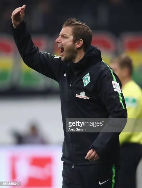 Head coach Florian Kohfeldt of Bremen reacts during the Bundesliga match between Eintracht Frankfurt and SV Werder Bremen at CommerzbankArena on...