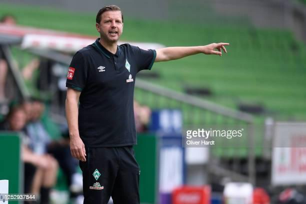 Head coach Florian Kohfeldt of Werder Bremen reacts during the Bundesliga match between SV Werder Bremen and 1. FC Koeln at Wohninvest Weserstadion...