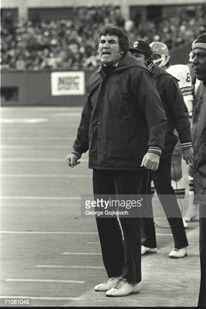 Head coach Forrest Gregg of the Cleveland Browns on the sideline during a game against the Pittsburgh Steelers at Three Rivers Stadium circa 1975 in...