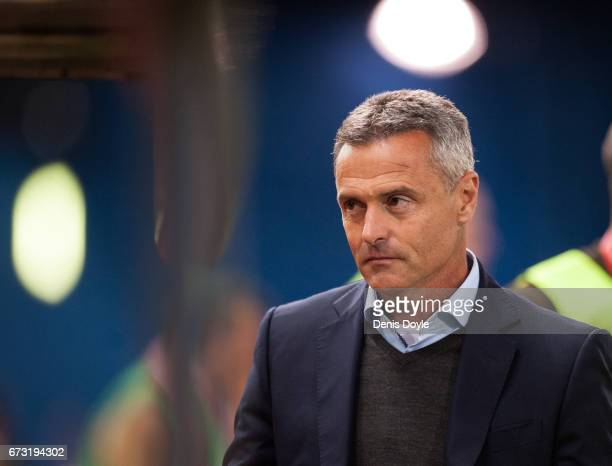 Head coach Fran Escriba of Villarreal CF looks on before the start of the La Liga match between Club Atletico de Madrid and Villarreal CF at estadio...