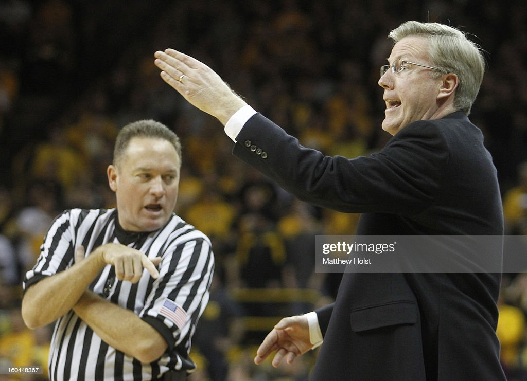 Head coach Fran McCaffery argues a call during the first half against the Penn State Nittany Lions on January 31, 2013 at Carver-Hawkeye Arena in Iowa City, Iowa. Iowa won 76-67.
