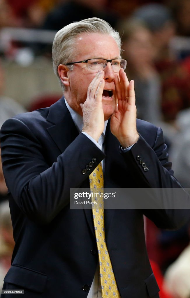 Head coach Fran McCaffery of the Iowa Hawkeyes coaches from the bench in the second half of play against the Iowa State Cyclones at Hilton Coliseum on December 7, 2017 in Ames, Iowa. The Iowa State Cyclones won 84-78 over the Iowa Hawkeyes.