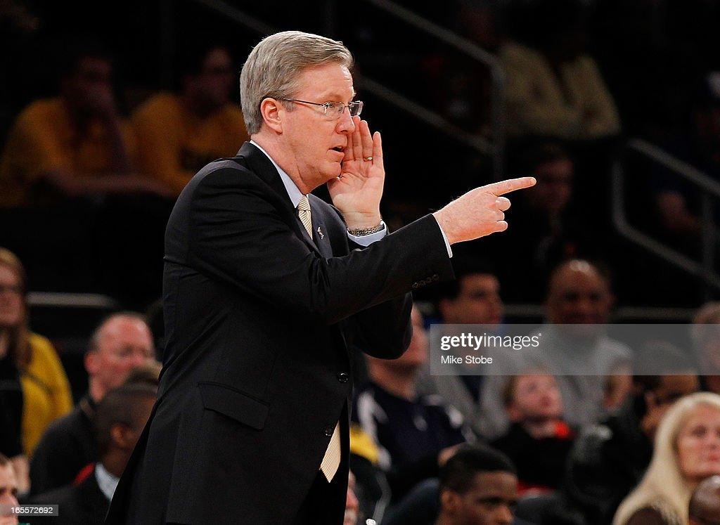 Head coach Fran McCaffery of the Iowa Hawkeyes directs his team from the sideline against the Baylor Bears during the 2013 NIT Championship at Madison Square Garden on April 4, 2013 in New York City. Baylor defeated Iowa 74-54.