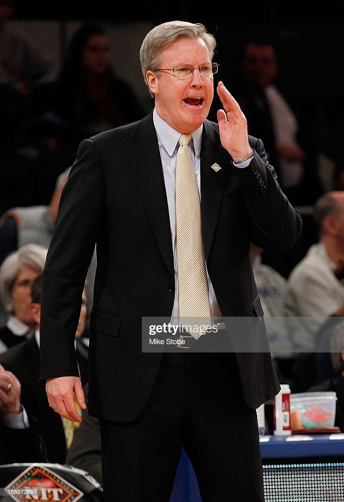 head coach Fran McCaffery of the Iowa Hawkeyes directs his team against the Baylor Bears during the 2013 NIT Championship at Madison Square Garden on April 4, 2013 in New York City. Baylor defeated Iowa 74-54.