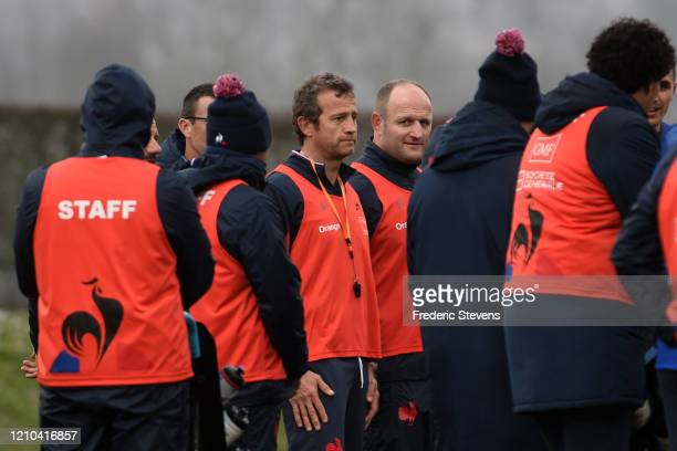 Head coach France rugby team Fabien Galthie and William Servat during the French Rugby Team training session ahead the 6 Nations match against...