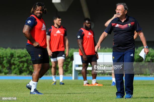 Head coach France rugby team Jacques Brunel and France Player Mathieu Bastareaud during a training session at National center of rugby on May 9 2018...