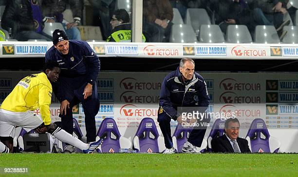 Head Coach Francesco Guidolin of Parma FC looks on during the Serie A match between Fiorentina and Parma at Stadio Artemio Franchi on November 21,...