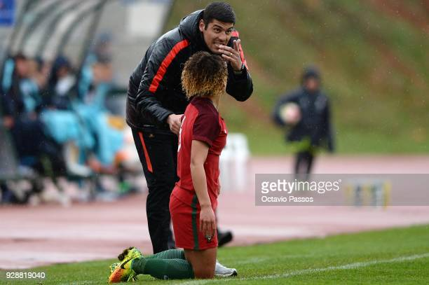 Head coach Francisco Neto of Portugal gives instructions during the 3rd place playoff Women's Algarve Cup Tournament match between Australia and...