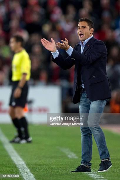 head coach Francisco Rodriguez Vilchez of Almeria UD gives instructions during the La Liga match between UD Almeria and Real Madrid CF at Estadio de...