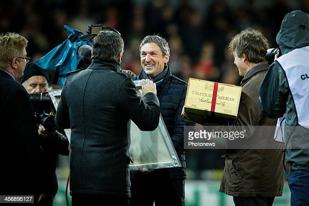 head coach Francky Dury of Zulte Waregem being celebrated for his 250th match as coach during the Jupiler Pro League match between Zulte Waregem and...
