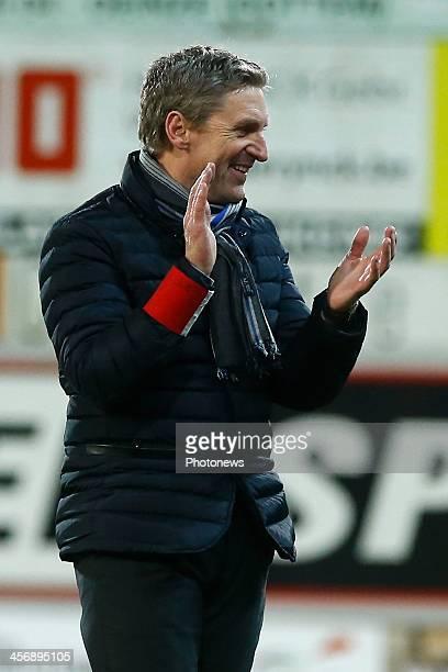 Head coach Francky Dury of Zulte Waregem celebrating during the Jupiler Pro League match between Zulte Waregem and Lierse SK on December 15 2013 in...