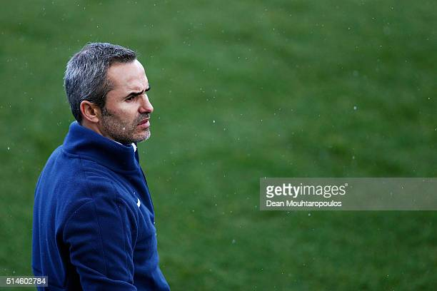 Head Coach Francois Rodrigues gives his players instructions during the UEFA Youth League Quarterfinal match between Paris Saint Germain and AS Roma...
