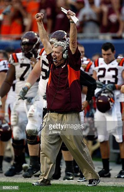 Head coach Frank Beamer of the Virginia Tech Hokies cheers after the final play against the Boston College Eagles in the 2008 ACC Football...