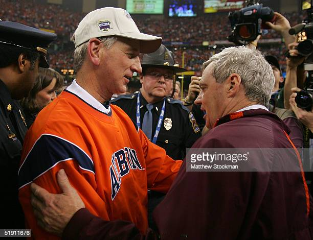 Head coach Frank Beamer of the Virginia Tech Hokies congratulates head coach Tommy Tuberville of the Auburn Tigers after his team lost to the Tigers...