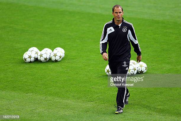Head coach Frank De Boer issues instructions during the training session of Ajax Amsterdam at SignalIduna Park in Dortmund Germany The UEFA Champions...