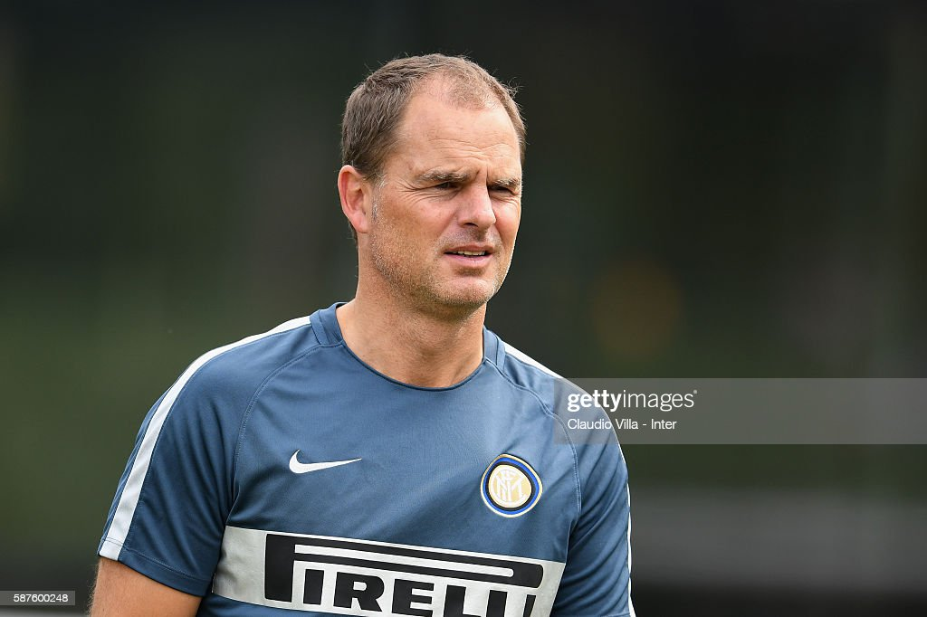 Head coach Frank de Boer looks on during the FC Internazionale training session at the club's training ground at Appiano Gentile on August 9, 2016 in Como, Italy.