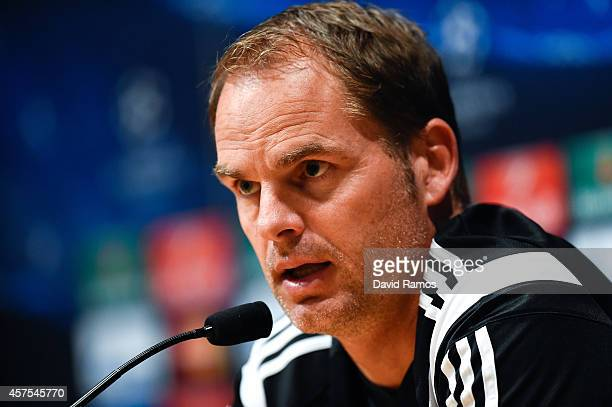 Head coach Frank de Boer of AFC Ajax faces the media during a press conference ahead of their UEFA Champions League Group F match against FC...