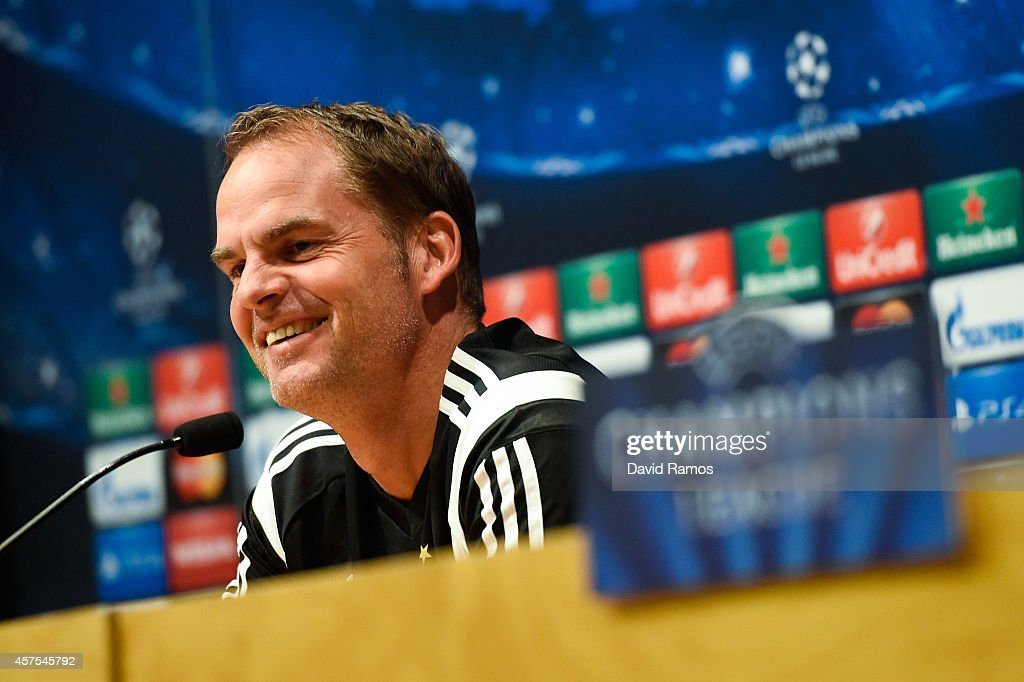 Head coach Frank de Boer of AFC Ajax faces the media during a press conference ahead of their UEFA Champions League Group F match against FC Barcelona at Camp Nou Stadium on October 20, 2014 in Barcelona, Spain.