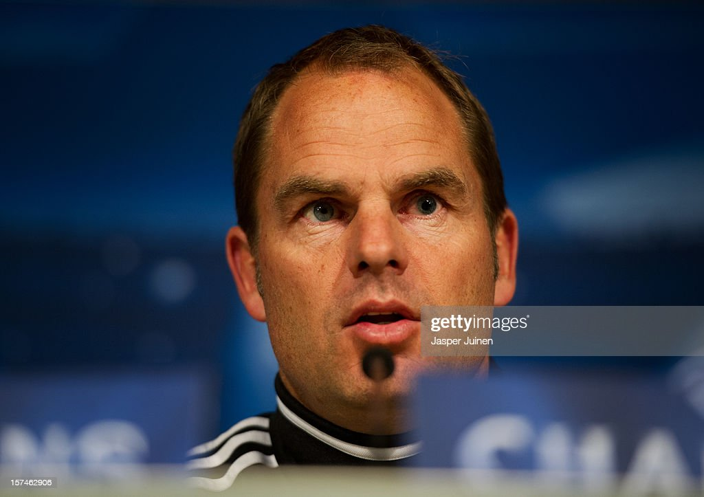 Head coach Frank De Boer of Ajax talks to the media during a press conference ahead of the UEFA Champions League match between AFC Ajax and Real Madrid CF at the Estadio Santiago Bernabeu on December 3, 2012 in Madrid, Spain.