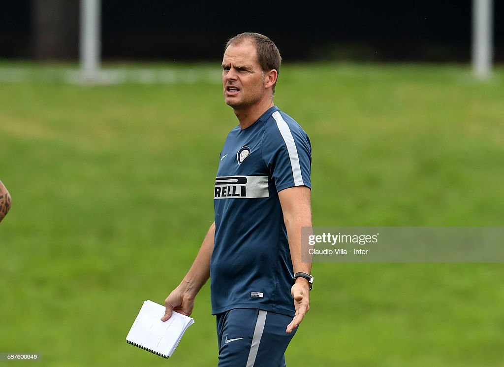 Head coach Frank de Boer reacts during the FC Internazionale training session at the club's training ground at Appiano Gentile on August 9, 2016 in Como, Italy.