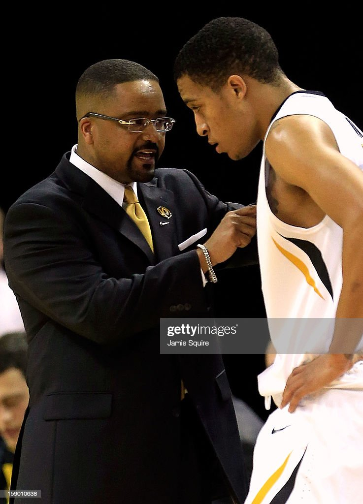 Head coach Frank Haith of the Missouri Tigers instructs Jabari Brown #32 during the game against the Bucknell Bison at Mizzou Arena on January 5, 2013 in Columbia, Missouri.