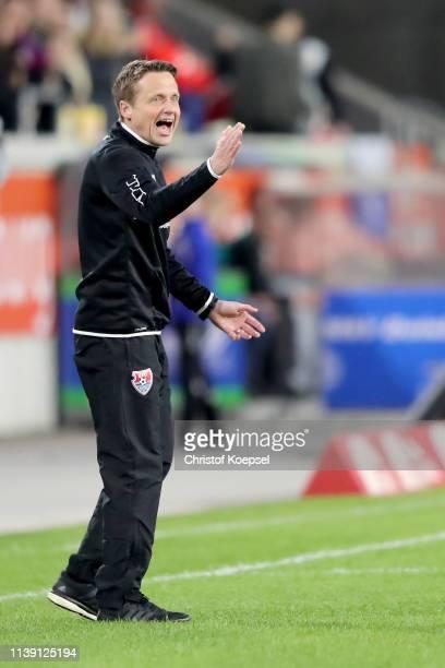 Head coach Frank Heinemann of Krefeld celebrates the first goal of his team during the 3 Liga match between KFC Uerdingen 05 and 1 FC Kaiserslautern...