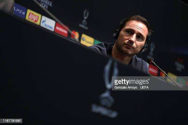 Head coach Frank Lampard of Chelsea attends a press conference the day before of the UEFA Supercup between Liverpool and Chelsea at Besiktas Park...