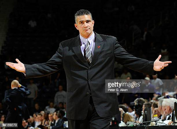 Head coach Frank Martin of the Kansas State Wildcats reacts to a call in the second half of a game against the Xavier Musketeers on December 8, 2009...
