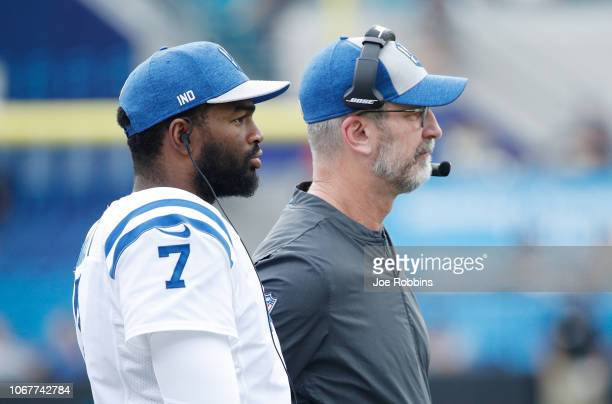 Head coach Frank Reich and Jacoby Brissett of the Indianapolis Colts wait on the field during their game against the Jacksonville Jaguars at TIAA...
