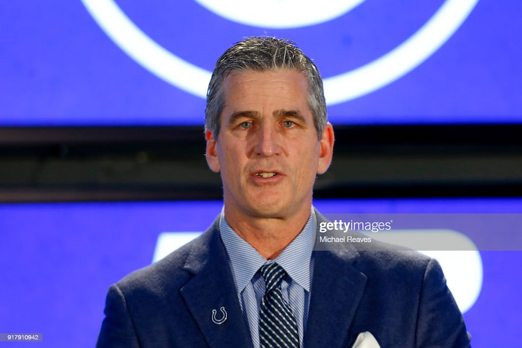 Head coach Frank Reich of the Indianapolis Colts addresses the media during his introductory press conference at Lucas Oil Stadium on February 13, 2018 in Indianapolis, Indiana.