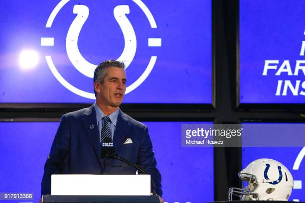 Head coach Frank Reich of the Indianapolis Colts addresses the media during his introductory press conference at Lucas Oil Stadium on February 13...