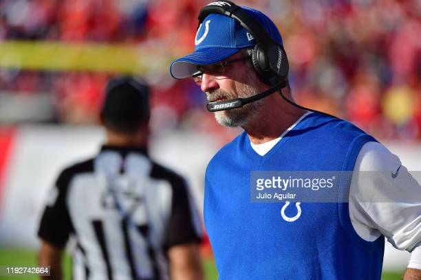 Head coach Frank Reich of the Indianapolis Colts looks on after a missed field goal during the fourth quarter of a football game against the Tampa...