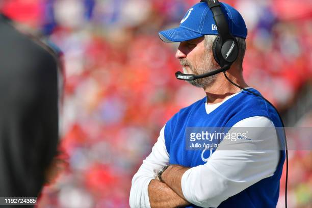 Head coach Frank Reich of the Indianapolis Colts looks on during the second quarter of a football game against the Tampa Bay Buccaneers at Raymond...