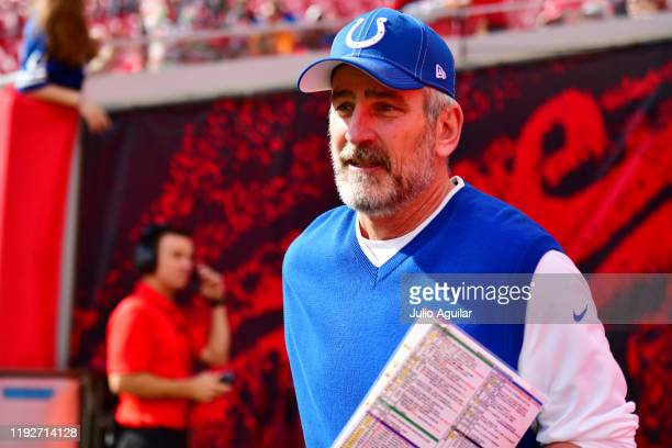 Head coach Frank Reich of the Indianapolis Colts runs on the the field prior to a game against the Tampa Bay Buccaneers at Raymond James Stadium on...