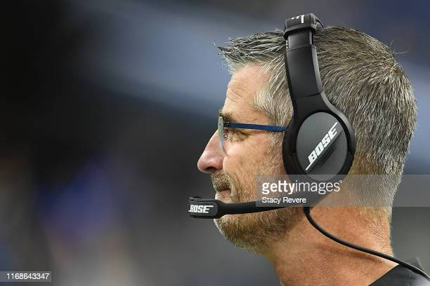 Head coach Frank Reich of the Indianapolis Colts watches action during a game against the Cleveland Browns at Lucas Oil Stadium on August 17 2019 in...