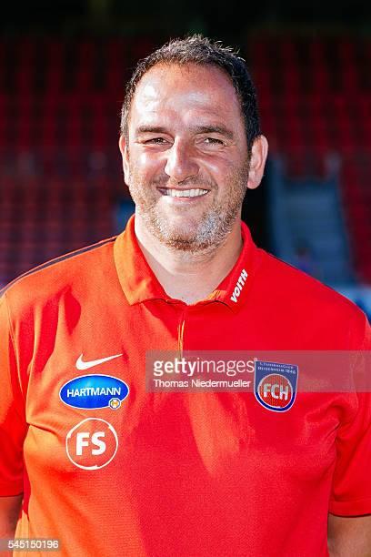 Head coach Frank Schmidt poses during the 1FC Heidenheim team presentation at VoithArena on July 5 2016 in Heidenheim Germany