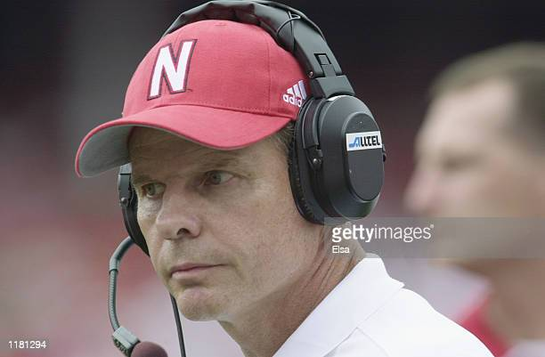 Head coach Frank Solich of the Nebraska Cornhuskers stands on the sideline during the NCAA football game against the Texas Christian University...