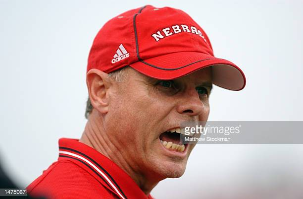 Head coach Frank Solich of the Nebraska Cornhuskers yells on the sideline during the Big 12 Conference football game against the Iowa State Cyclones...