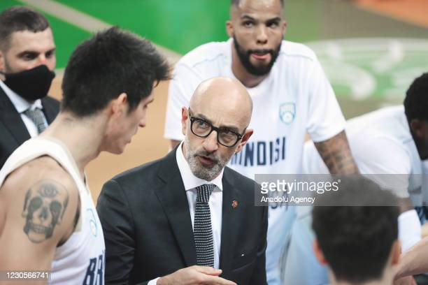 Head coach Frank Vitucci of Happy Casa Brindisi gestures during FIBA Champions League Group H basketball match between Darussafaka Tekfen and Happy...