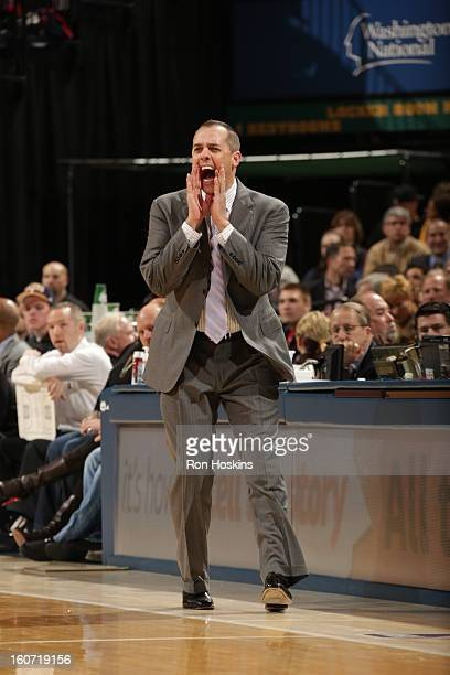Head Coach Frank Vogel of the Indiana Pacers directs during the game between the Indiana Pacers and the Chicago Bulls on February 4 2013 at Bankers...