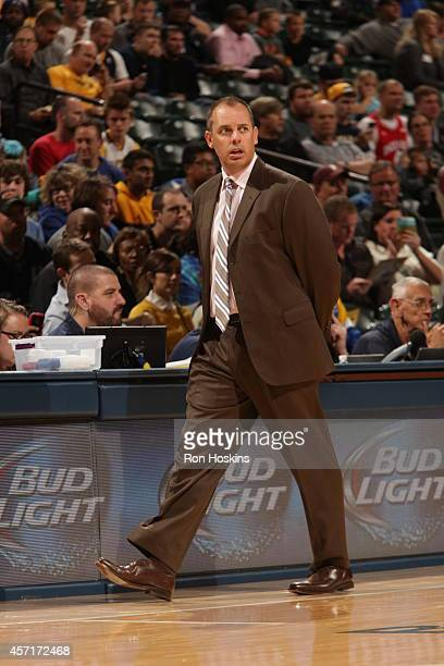 Head Coach Frank Vogel of the Indiana Pacers during the game against the Orlando Magic at Bankers Life Fieldhouse on October 10 2014 in Indianapolis...