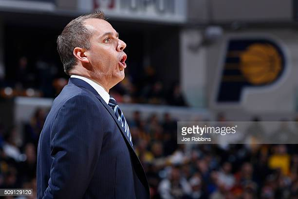 Head coach Frank Vogel of the Indiana Pacers looks on against the Los Angeles Lakers in the first half of the game at Bankers Life Fieldhouse on...
