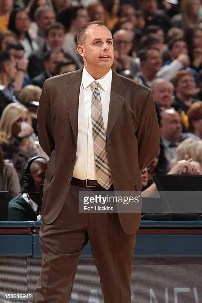 Head Coach Frank Vogel of the Indiana Pacers looks on during the game against the Washington Wizards on November 8 2014 at Bankers Life Fieldhouse in...