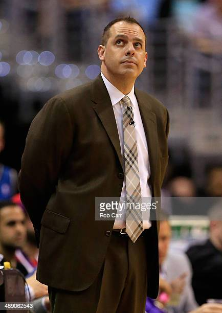 Head coach Frank Vogel of the Indiana Pacers looks on during the first half against the Washington Wizards during Game 3 of the Eastern Conference...