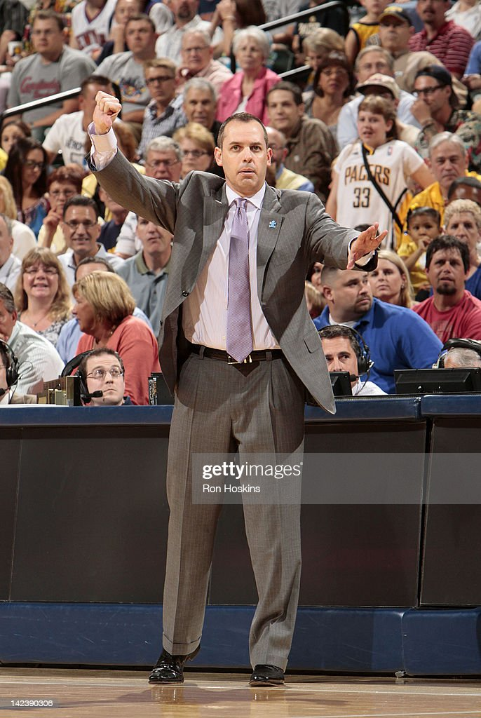 Head coach Frank Vogel of the Indiana Pacers reacts to the game action against the New York Knicks on April 3, 2012 at Bankers Life Fieldhouse in Indianapolis, Indiana.