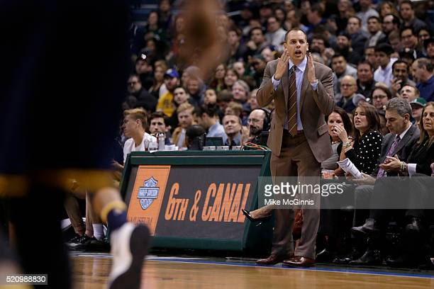 Head Coach Frank Vogel of the Indiana Pacers yell from the sidelines during the first quarter against the Milwaukee Bucks at BMO Harris Bradley...