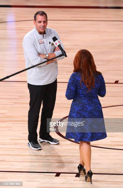 Head coach Frank Vogel of the Los Angeles Lakers is interviewed by ESPN reporter Rachel Nichols during the first half of an NBA game at The Arena at...