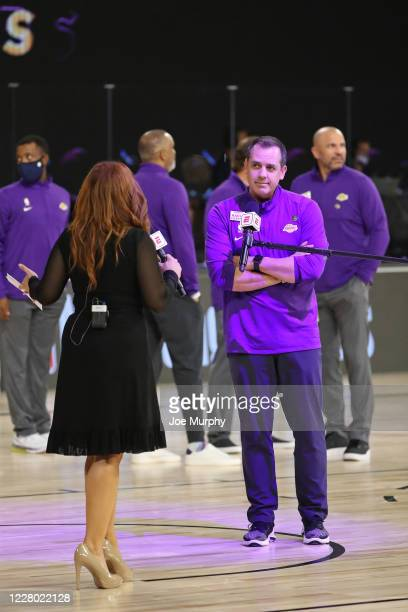Head Coach, Frank Vogel of the Los Angeles Lakers is interviewed by ESPN reporter, Rachel Nichols during the game against Los Angeles Lakers on...